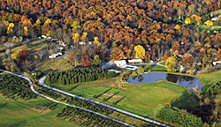 A aerial view in autumn at an NCA Member Campground in Pennsylvania!