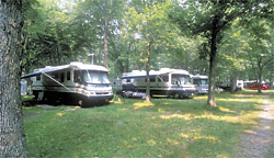 Motorhomes at an NCA Member Campground in Rhode Island.